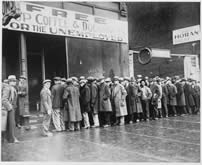 unemployed me queued outside a 1930s americam soup kitchen