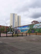 urban mural and tower blocks